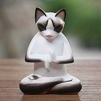 Wood sculpture, 'Breathing Yoga Cat' - Wood sculpture