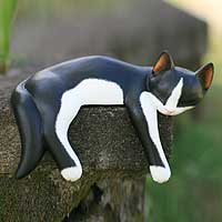 Wood statuette, 'Snoozing Tuxedo Cat'