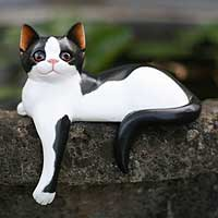 Wood statuette, 'Curious Kitty' - Wood statuette