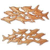 Wood wall panels, 'Dolphin Voyage' (pair) - Wood wall panels (Pair)