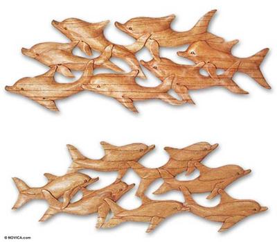 Wood wall panels, 'Dolphin Voyage' (pair) - Wood wall panels (Pair)
