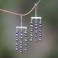 Pearl chandelier earrings, 'Iridescent Chimes' - Pearl and Sterling Silver Dangle Earrings