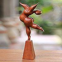 Wood sculpture, 'Let's Dance' - Wood Dancer Sculpture