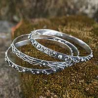 Sterling silver bangle bracelets, 'Inspiration' (set of 3) - Silver Bangle Bracelets from Bali (Set of 3)