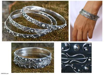 Sterling silver bangle bracelets, 'Inspiration' (set of 3) - Sterling silver bangle bracelets (Set of 3)
