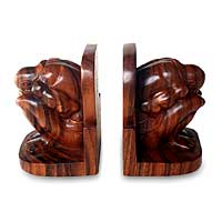 Wood bookends, 'Yogi' (pair) - Wood bookends (Pair)