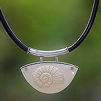 Leather pendant necklace, 'Nautilus Shell' - Leather pendant necklace