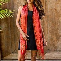 Silk batik shawl, 'Romantic Sunset' - Elegant Silk Batik Scarf