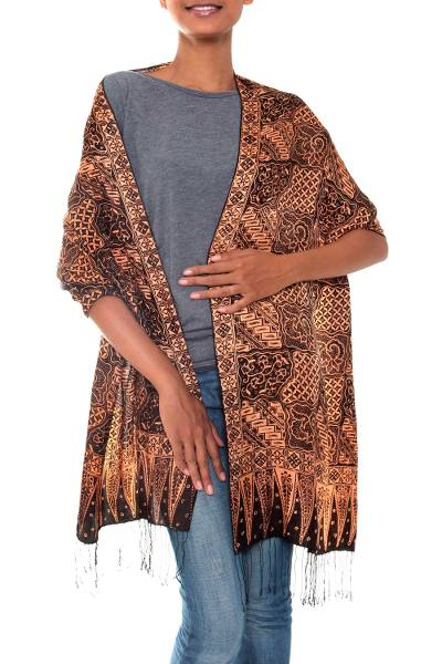 Silk batik shawl, 'Java Patchwork' - Artisan Crafted Floral Silk Patterned Shawl