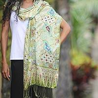 Silk batik shawl, 'Lavish Java' - Floral Batik Silk Wrap