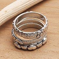 Sterling silver rings, 'Silver Loves' (set of 3) -  Floral and Heart Shaped Sterling Silver Stacking Rings