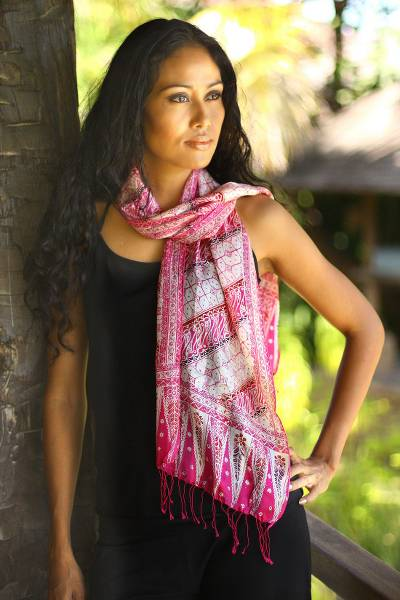 Silk batik scarf, 'Pink Fantasy' - Hand Crafted Batik Silk Patterned Scarf from Indonesia