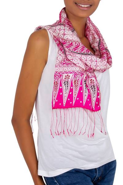 Hand Crafted Batik Silk Patterned Scarf from Indonesia