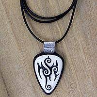 Ebony wood pendant necklace, 'Marquesa Tattoo' - Tattoo Design Wood and Cow Bone Pendant Necklace from Bali