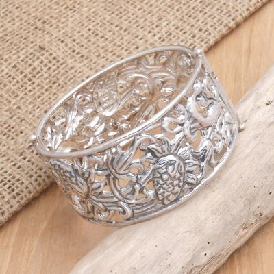 Sterling silver bangle bracelet, 'Sweet Strawberry' - Sterling silver bangle bracelet