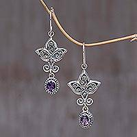 Amethyst earrings, 'Leaf Trio' - Amethyst earrings