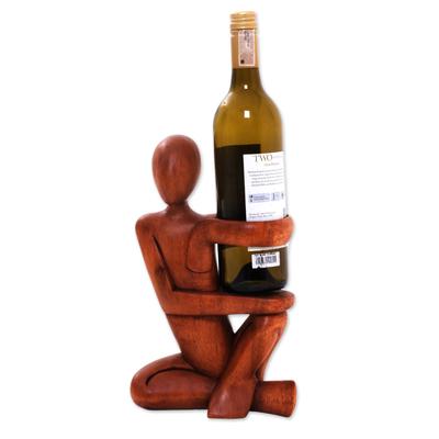 Wood wine bottle holder, 'The Invitation' - Hand Carved Wood Wine Bottle Holder