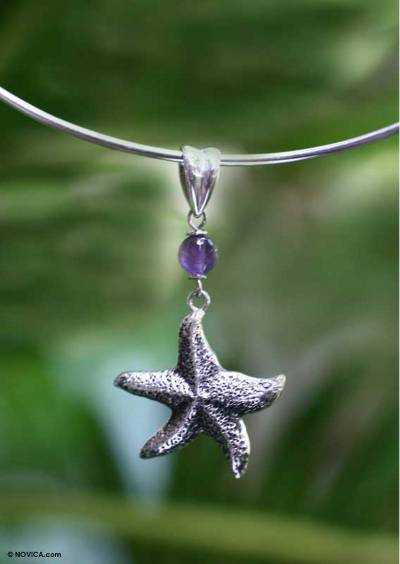 Amethyst choker, 'Starfish' - Amethyst choker