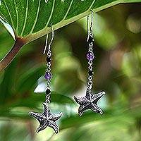 Amethyst and onyx earrings, 'Starfish' - Amethyst and onyx earrings