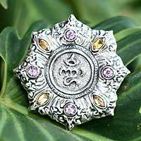 Amethyst and citrine brooch pin pendant, 'Omkara' - Amethyst and citrine brooch pin pendant