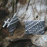 Sterling silver cufflinks, 'Beauty and Harmony'