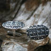 Sterling silver cufflinks, 'Victorious'