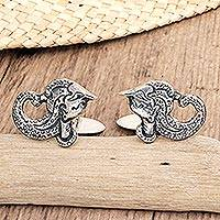 Sterling silver cufflinks, 'Arjuna' - Sterling Silver Cufflinks