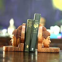 Wood bookends, 'Quiet Buddha' (pair) - Carved Buddha Wood Bookends