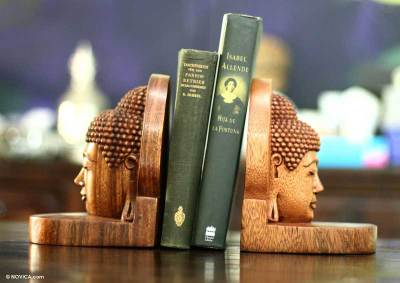 Carved Buddha Wood Bookends