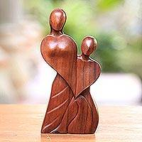 Wood statuette, 'Always in Love' - Handcrafted Romantic Wood Sculpture