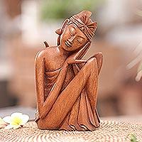 Wood statuette, 'Balinese Man' - Wood statuette