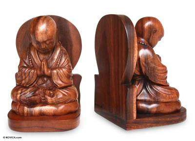 Wood bookends, 'Buddha's Prayer' (pair) - Praying Buddha Carved Wood Bookends