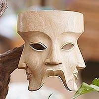 Wood mask, 'Hindu Divine Trinity' - Religious Hibiscus Wood Mask