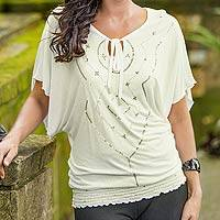 Blouse, 'Ivory Butterfly' - Embroidered Knit Top from Indonesia