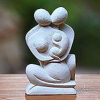 Sandstone sculpture, 'Happy Family' - Handcrafted Stone Sculpture from Indonesia