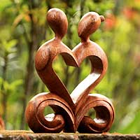 Wood sculpture, 'One Heart' - Indonesian Handcrafted Wooden Sculpture