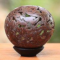 Coconut shell sculpture, 'Diving Dolphins' - Coconut shell sculpture