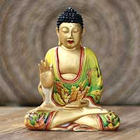 Wood statuette, 'Buddha's Teachings' - Wood statuette