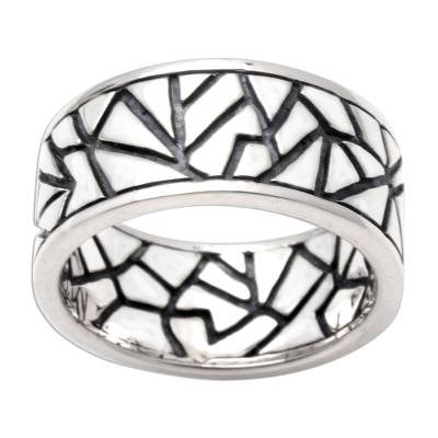 Sterling silver ring, 'Puzzle' - Hand Made Modern Sterling Silver Band Ring
