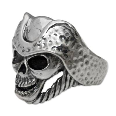 Men's sterling silver ring, 'Monarch Skull' - Men's Indonesian Sterling Silver Skull Ring