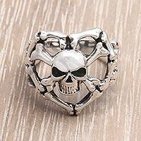 Men's sterling silver ring, 'Mystifying Skull' - Men's Sterling Silver Ring Handmade in Indonesia