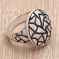 Sterling silver domed ring, 'Convex Puzzle'