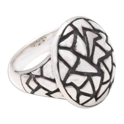 Sterling silver domed ring, 'Convex Puzzle' - Sterling silver domed ring
