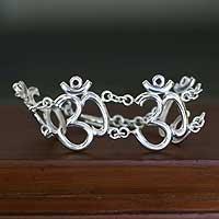 Sterling silver link bracelet, 'Indian Om' - Sterling Silver Spiritual Link Bracelet