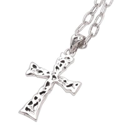 Men's sterling silver cross necklace, 'Celestial Light' - Men's Sterling Silver Cross Necklace