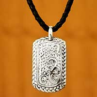 Men's sterling silver necklace, 'Duet' - Men's sterling silver necklace