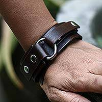 Men's leather wristband bracelet, 'Bold Brown'