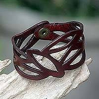 Leather wristband bracelet, 'Crimson Nest'