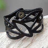 Leather wristband bracelet, 'Licorice Nest' - Indonesian Leather Wristband Bracelet