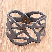 Leather wristband bracelet, 'Ash Nest' - Leather wristband bracelet